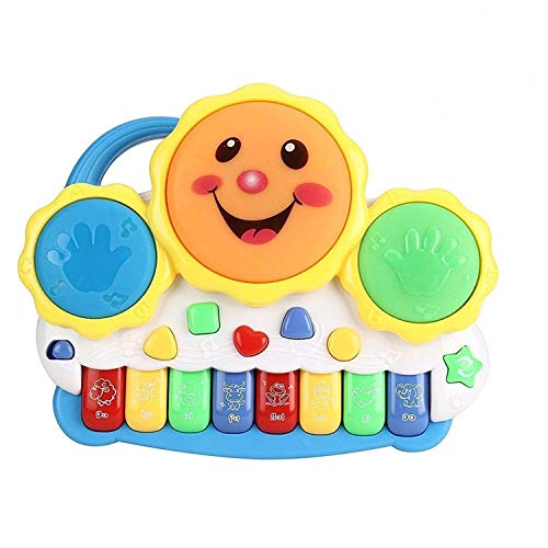 Husa Drum Keyboard Musical Toys with Flashing Lights, Animal Sounds and Songs, Multi Color