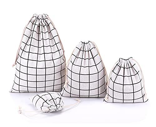 Abaría - 4 unidades bolsa de algodón grande - Bolsa inserto organizador para ropa juguete pañales - Bolsos inserto bebé - Grande 30 x 41 cm, mediano 25x 30 cm, pequeña 19 x 23 cm, mini 14 X 16 cm