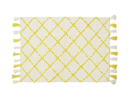 Aratextil. Tapis pour enfant 100% coton lavable en machine à laver Collection berbère Tanger jaune 140 x 200 cm