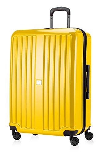 HAUPTSTADTKOFFER - X-Berg - XL Hartschalen-Koffer Koffer Trolley Rollkoffer Reisekoffer, 4 Rollen, TSA, 75 cm, 126 Liter, Gelb glänzend