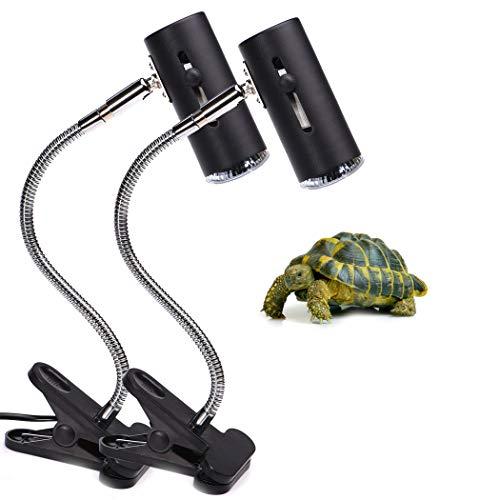 CalPalmy 25W Reptile UVA UVB Lamp - Upgraded Lengthened Adjustable Stand & Socket - for Birds Brooder Coop Chicken Lizard Turtle Snake Aquarium Habitat Heat Lamps with Bonus Light Bulbs - 2-Pack