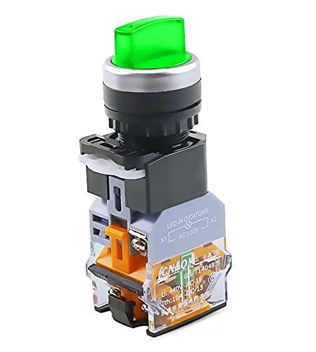 MSFDOG LA38-11XD / 2 Interruptor de botón Giratorio con lámpara 22 mm 2 Posición 3 Posición Latching DIRIGIÓ Knob Cambia Multicolor Opcional (Color : Green-3 Position, Voltage : 12V)