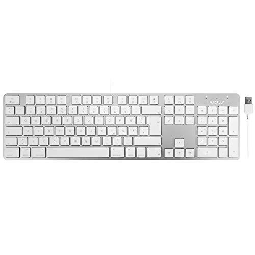 Macally SLIMKEYPROA-DE, erweiterte Mac-Tastatur mit Ziffernblock und deutschem QWERTZ Layout mit Umlauten, USB-A, Alu-Design