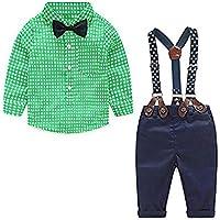 4pcs Ropa Traje de bebé niño Camisa de Manga Larga + Pantalones + Pajarita + Correa para el Hombro, Traje de bebé niño Ropa de Fiesta Bautizo Vestido de Novia Traje(Verde,3-4 años)
