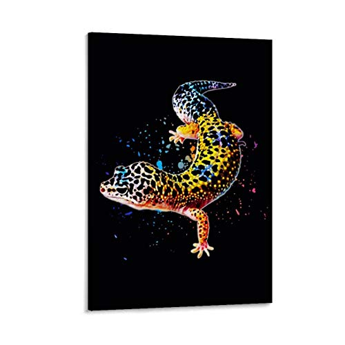 Leopard Gecko Watercolor Canvas Art Poster and Wall Art Picture Print Modern Family Bedroom Decor Posters 08x12inch(20x30cm)