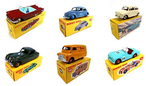OPO 10 - Lot von 6 Norev Autos für DeAgostini Dinky Toys: Triumph TR2 + Bedford Van Kodak + FIAT 600D + Jaguar XK120 + Ford Thunderbird + Käfer