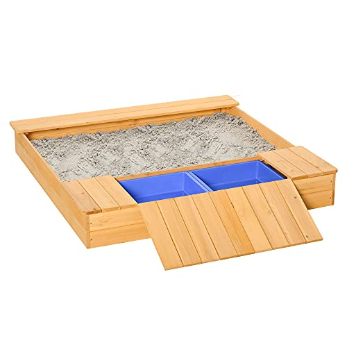 Outsunny Kid Wooden Sand Pit Children Outdoor Square Sandbox with 2 Side...