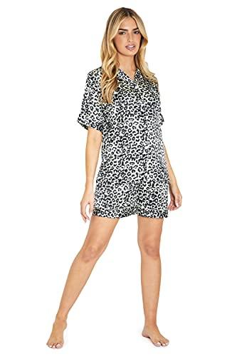 CityComfort Pijama Mujer Verano, Ropa Mujer, Pijamas Mujer, Pijama Saten S - XL (Estampado Animal, XL)