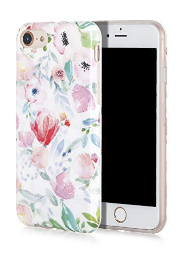 SunshineCases Flower iPhone Case (Compatible: Apple iPhone SE 2020 / iPhone 8 / iPhone 7 Case) Slim, Cute and Protective Phone Case Cover for Women & Girls, Easy to Grip (Watercolor Botanical Floral)