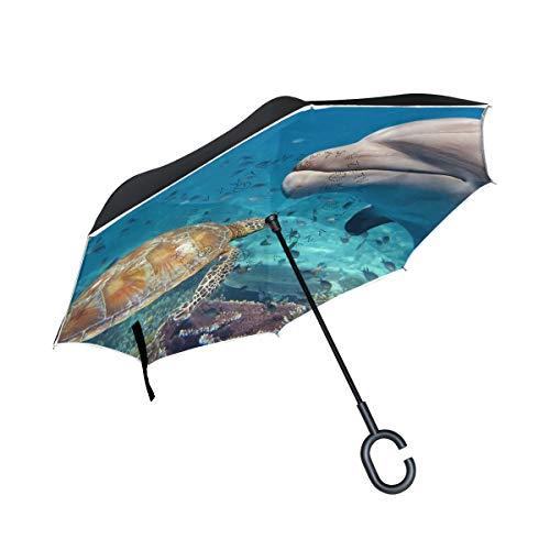 XiangHeFu Doppio Strato invertito Ombrelli inversi Oceano Animale Tartaruga Marina Delfino Pieghevole Protezione Antivento UV Grande Dritto per Auto con Manico a Forma di C