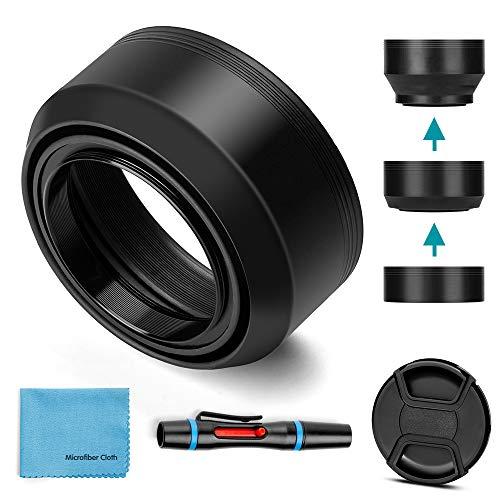 Fotover - Paraluce universale pieghevole in gomma, 58 mm, con tappo centrale per obiettivo per fotocamera Canon Nikon Sony Pentax Olympus Fuji