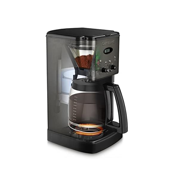 Cuisinart DCC-1200BKS 12 Cup Brew Central Coffee Maker, Black Stainless Steel 2 Classic stainless design 12 Cup carafe with ergonomic handle, dripless spout and knuckle guard Brew Pause feature lets you enjoy a cup of Coffee before brewing has finished Adjustable heater plate (low, medium, high) ensures that your Coffee stays at the temperature you like best