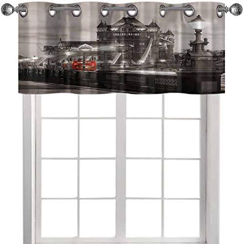Aishare Store - Cortina opaca con cenefa, decoración de Londres, diseño de torre en la famosa ciudad urbana paisaje europeo, 106,7 x 45,7 cm, tratamiento de ventana para sala de cocina (1 panel)