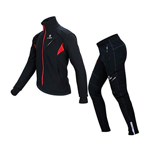 X-TIGER Invierno Chaqueta Ciclismo Ropa Manga Larga+Pantalones de Impermeable y Resistente al Viento de Térmica vellón para Hombre Ciclismo Chaqueta-L