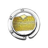 Lindo gancho plegable para monedero para mesa, gancho personalizado para coche, mazorca, orejas amarillas de maíz en la mazorca con mantequilla y picnic