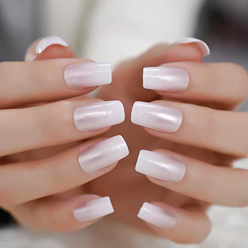 Pearl Shine Glossy Fake Nails Shimmer White Square French Nail Ombre Faux Ongles Gradient Medium Fingernails with Gluetabs