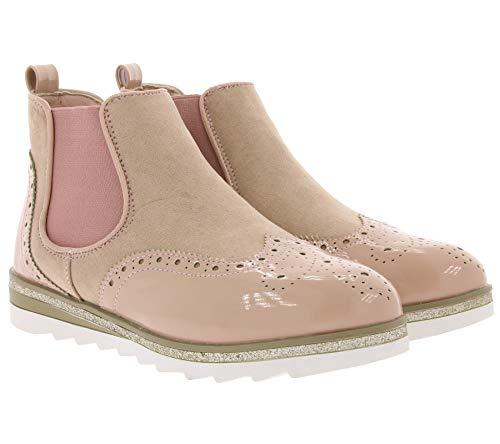 City Walk Schuhe Chelsea-Boots stylische Damen Stiefelette Booties Freizeit-Schuhe Altrosa, Größe:37