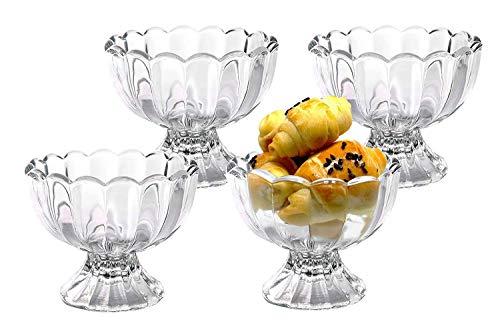 VanEnjoy Glass Bowl Set - Mini Prep, Dip, Dessert, Ice Cream, Bar Snack Dish Bowls - Set of 4, 6 Oz