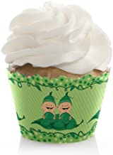 Big Dot of Happiness Twins Two Peas in a Pod - Baby Shower or Birthday Party Decorations - Party Cupcake Wrappers - Set of 12