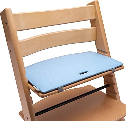 Tripp Trapp Sitzkissen: Sitzauflage für den Kinder Hochstuhl mit Kult-Faktor! Mit diesem Hochstuhl Sitzkissen aus hochwertigem Filz wird dein TrippTrapp Hochstuhl noch stylischer! (blau/grau)