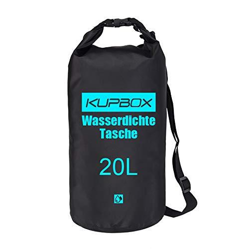 kupbox wasserdichte Tasche mit Verstellbarem Gurt, Dry Bag,100% wasserdichte Packsäcke für Wassersport,Boot Kajak, Angeln, Rafting,Camping usw.Mehrweg-Verpackung. (schwarz, 20L)