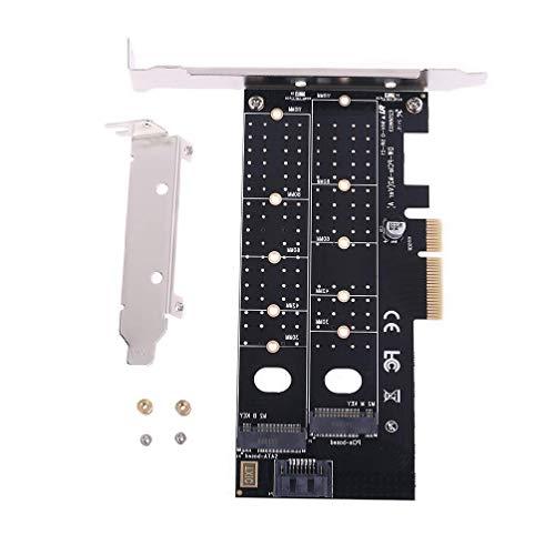XIANZI Adaptador PCIE a M2 M.2 Dual NVMe SSD de M, llave B, llave SATA, tarjeta de expansión, gestión de cables de juego Express