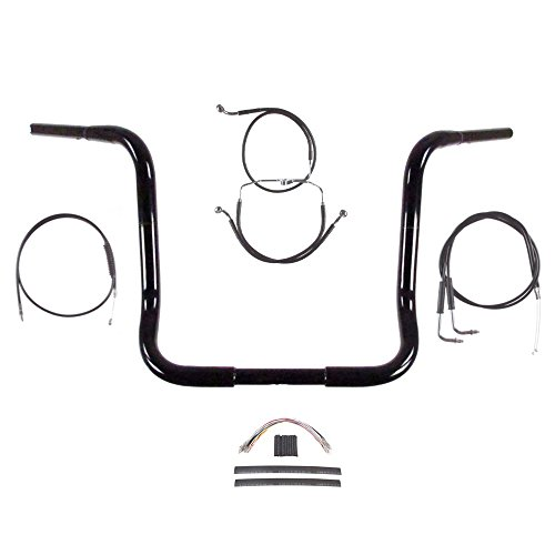 Hill Country Customs 1 1/4' BBlack 16' Ape Hanger Handlebar Kit for 1996-2006 Harley-Davidson Electra Glide, Ultra Classic, Street Glide models without Cruise Control - BSC-BB16GB-ESG06-NC-BC
