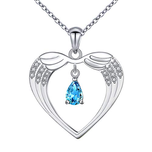 FLYOW Tear of Angel Heart Necklace Angel Wing Necklace with Dangle Teardrop Pendant 925 Sterling Silver Jewelry, Adjustable Chain 18+2 Inches Birthday Gifts