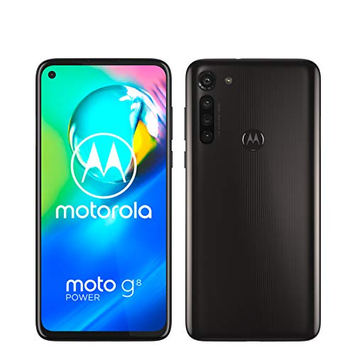 "moto g8 power Dual-SIM Smartphone (6,4""-Max Vision-HD+-Display, 16-MP-Hauptkamera, 64 GB/4 GB, Android 10) Schwarz inkl. Schutzcover & KFZ-Adapter - exklusiv bei Amazon"
