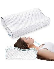VOKARALA traagschuim hoofdkussen, hoogte naar keuze, visco-slaapkussen, ergonomisch orthopedisch neksteunkussen tegen nekpijn, anti-snurkkussen met ademend mesh en wasbare overtrek