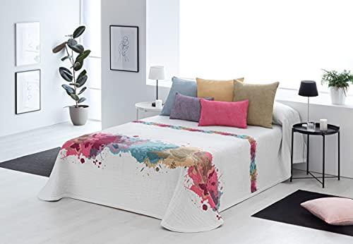 Textilia - Colcha Piqué Tabarca (7 Rosa, Verde y Azul, 90)