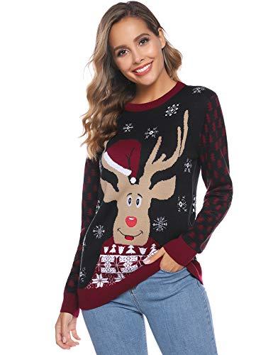 iClosam Maglione Natalizio Donna, Maglione di Natale Donna Renna Girocollo a Maniche Lunghe Pullover Manica Lunga Donna Invernali Caldo