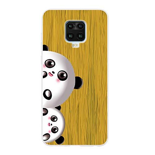 Miagon Holz Korn Hülle für Xiaomi Redmi Note 9S,Ultra Dünn Weiche Silikon Handyhülle Cover Stoßfest Schutzhülle mit Schöne Süß Panda Muster,Gelb