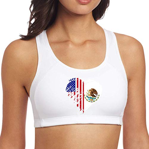 XCNGG Grungy México American Flag Heart Mujeres Sujetadores Deportivos Sin Costura Racerback Activewear Entrenamiento Ropa