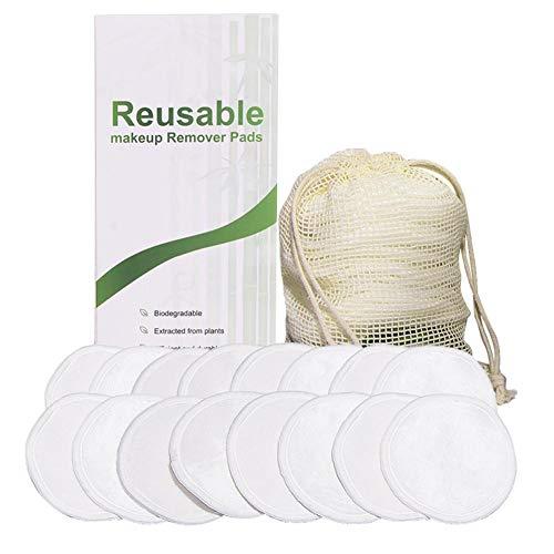 Binwe - Lote de 16 almohadillas de maquillaje reutilizables, fibra de bambú, redondas, lavable, fibra de bambú, maquillaje desmaquillante de algodón
