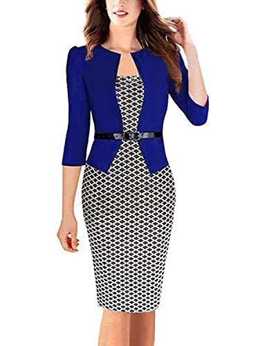 MODETREND Donna Vestiti Manica a 3/4 Elegante Stampato Floreale Abito con Cintura Giuntura Pannello Esterno dell'anca Pacchetto Abiti Vestito da Matrimonio Sera (L, Blu 2)