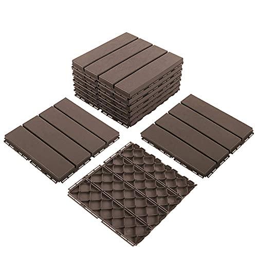 Domi Outdoor Living Patio Deck Tiles, 12 x 12 inches Composite Interlocking Decking Tile, Four Slat Plastic Outdoor Flooring, 9 Pieces One Pack, Dark Brown