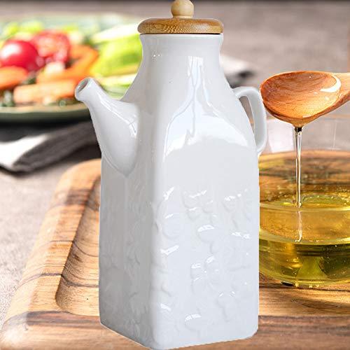 LAYG Blanco Cerámica de Aceite y Vinagre Botella Dispensador,Botella Contenedor de Aceite de Oliva, Vinagre, Salsa de Soja,Aceiteras de Cocina / 650ML