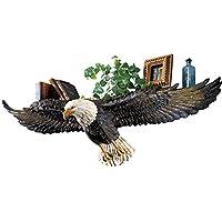 Collections Etc 3D彫刻 空を飛ぶ白頭鷲ウォールシェルフ ブラック