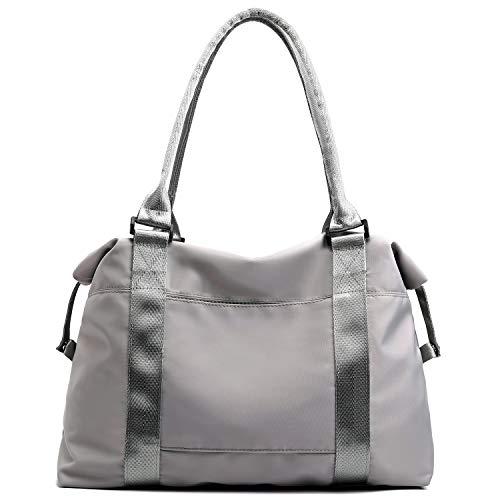 Forestfish Carry On Luggage Bag Sports Gym Bag Travel Duffel Bag, Grey