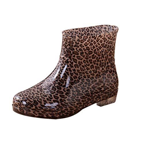 JEELINBORE Damen Gummistiefel Regenstiefel Gedruckt Anti-Rutsch Knöchellänge Gartenschuhe Wellies (Leopard, Asien 39)