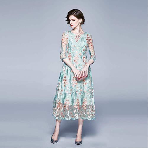 QUNLIANYI Elegante Hellgrüne Rosa Blumenstickerei Kleid Overlay Spitze Mesh Kleid Frauen Lässig O-Ausschnitt Halbarm Damen Partykleid XXL