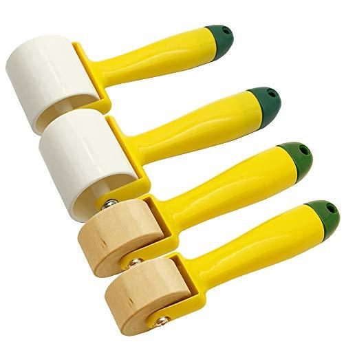 4 Stück Tapeten Nahtroller mit Holzrollen, Kunststoffrolle und Kunststoffgriff, Dekoration Werkzeug für Tapeten, Wohnaccessoires usw.