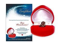 Echte Sternschnuppe in roter Herzbox ✪ inkl. DEINEM WUNSCHTEXT auf persönlichem Widmungszertifikat   als Geburtstagsgeschenk, zur Taufe oder zum Valentinstag