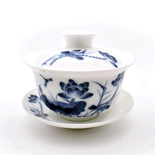 Teacups set,QMFIVE,Chinese Traditional Teaware Blue and White Porcelain Gaiwan Kungfu Tea bowl with Lid and Saucer - 6oz/180ml,Lotus
