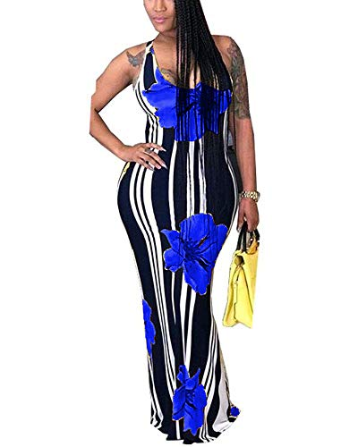 Womens Mermaid Long Maxi Dress – Off The Shoulder Triple Color Block Bodycon Dress