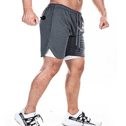 EVERWORTH Men's 2-in-1 Bodybuilding Workout Shorts Lightweight Gym Training Short Running Athletic Jogger with Zipper Pockets Grey S Tag L