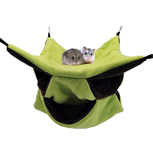 LeerKing Hängematte Höhle mehrstöckiges Hängebett Käfig Kleintierebett Intellektuelles Spielzeug Tunnel mit Haken für Ratte Chinchillas Totoro Hamster Meerschweinchen Mäuse Nager Grün