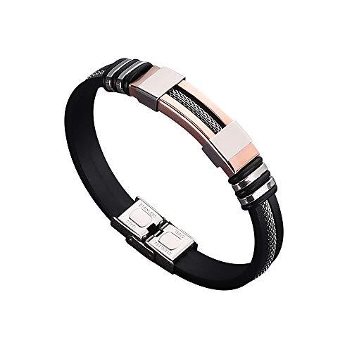 Mostop - Bracciale da uomo in titanio e silicone, in nero, ottimo regalo per la festa del papà, anniversario, San Valentino, compleanno e acciaio al titanio, colore: Oro rosa, cod. 0013