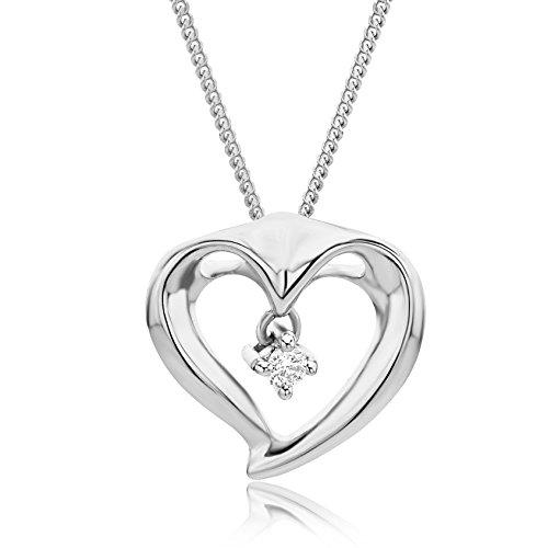 Miore Kette - Halskette Damen Kette mit Herz Weißgold 9 Karat / 375 Gold Diamant Brilliant 0.03 ct 45 cm